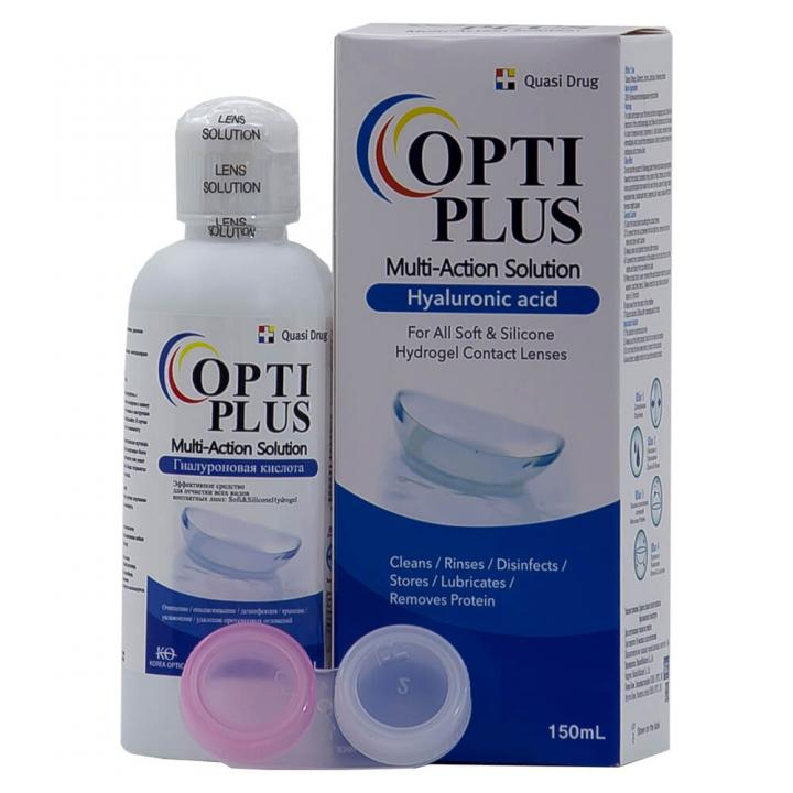 Раствор и контейнер для контактных линз Opti Plus