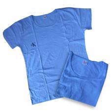 Женская футболка голубая