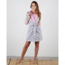 Женский костюм-халат Сливки серый