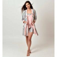 Женский костюм-халат Полосочка розовый