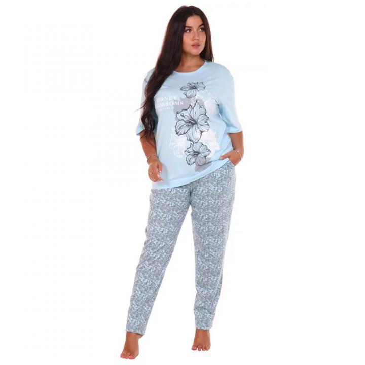 Женская пижама Гибискус голубой