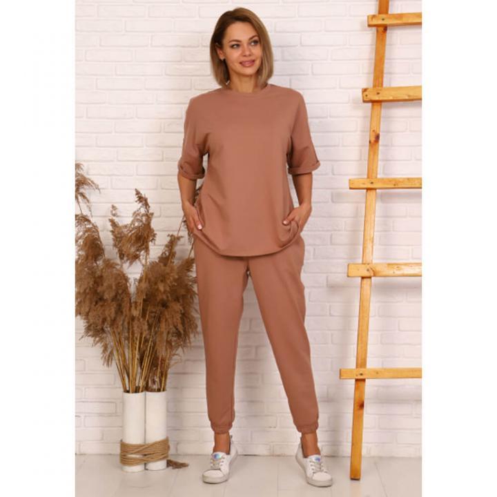 Женский костюм 24003 коричневый